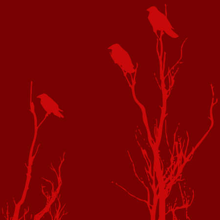 Halloween red vector background with raven bird.