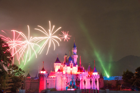 Firework at Hong Kong  Disneyland Editorial