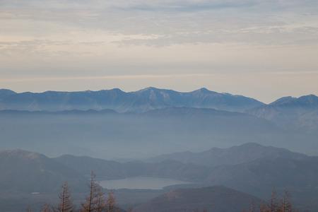 5th: Kawaguchiko Lake This shot was taken from the 5th Station of Fuji Mountain. Stock Photo