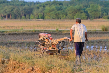 Nakhon Si Thammarat, Thailand - FEBRUARY 18, 2011 : Unidentified farmer plows the paddy field using tiller tractor to prepare the soil before the rainy season.