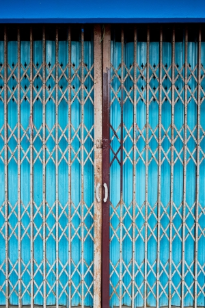 Vintage sliding metal door background photo