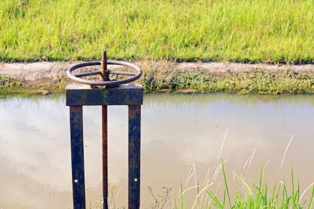 sluice: Irrigation Canal and Floodgate valve Stock Photo
