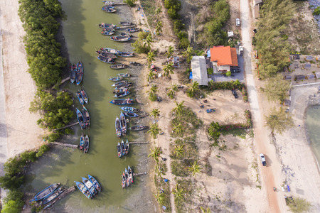 boat dock: Aerial view over fishing boat dock in Nakhon Si Thammarat, Thailand Stock Photo