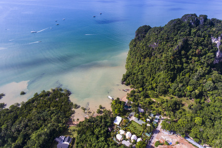 Aerial view of Ao Nam Mao beach in Krabi, Thailand. Tourists can get to Railay beach by ferry from Ao Nam Mao pier. Stock Photo