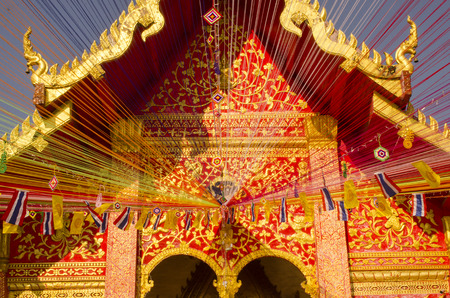adorned: Church of Thai temple was adorned with brocade Stock Photo