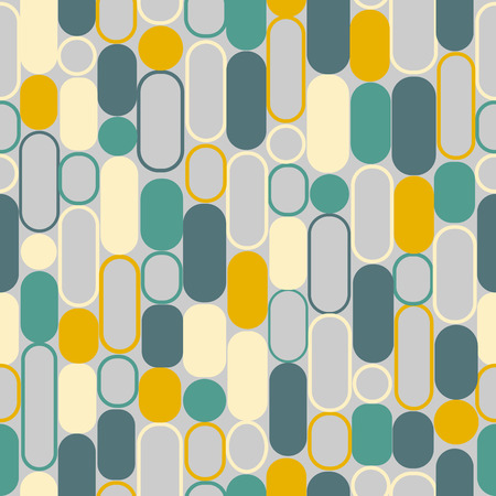 Seemless pattern of circle geometric in green and gray and yellow tone color, vintage color for paper print, fabric business, bakground. Vector design. Stock Illustratie