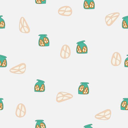 Seamless pattern of doodle piece of lemon in bottle on white background for wallpaper, paper business, fabric work. Vector design. Çizim