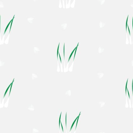 Seamless pattern of doodle green spring onion for wallpaper, paper business, fabric work, food issue.  Vector design.