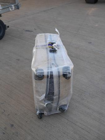 damaged: completely damaged suitcase Stock Photo