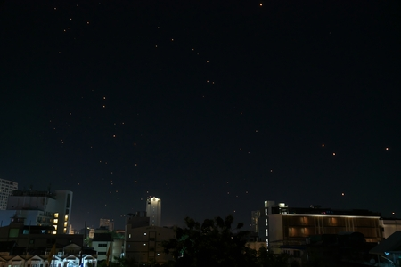 sky lantern: Sky lantern festival (yee peng lanna) in Chaing Mai, Thailand Stock Photo