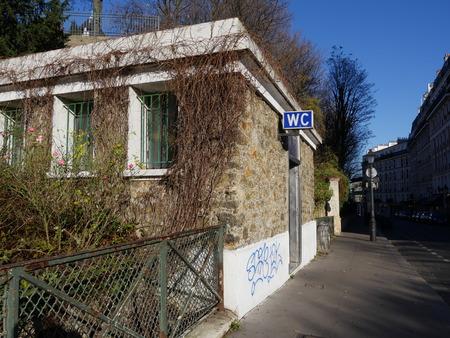 coeur: Public toilet near Sacre Coeur, Monmartre Editorial