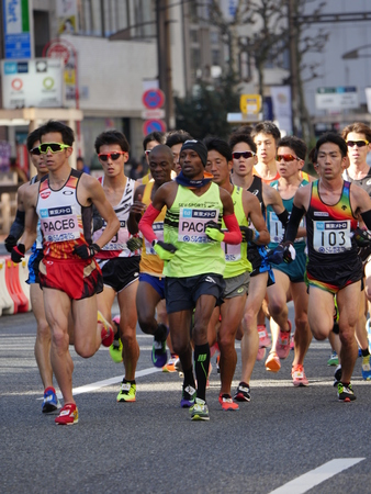 pacemaker: Tokyo, Japan-February 26, 2017: Marathon race in Tokyo pacemaker