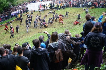 Gloucester, United Kingdom:May 29, Cooper's hill Cheese Rolling Race 2017