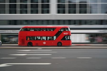panning shot: London, United Kingdom-May 30, 2017: Panning shot of double-decker bus running on Edgware Road