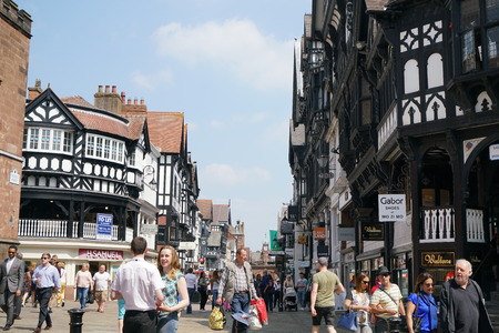 chester: Chester, UK-May 25, 2017: Eastgate Street, Chester Editorial