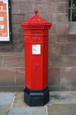 Chester, UK-May 25, 2017: Royal Mail Postbox in Chester Editorial