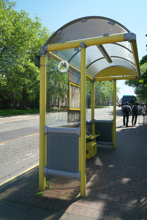 Liverpool, UK-May 25, 2017: Bus stop at Upper Duke street in Liverpool Editorial