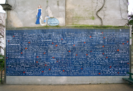 Paris, France-January 19, 2018: The Wall of Love is a love-themed wall of 40 square metres near Abbesses station in Montmartre, Paris. I love you is featured in 250 languages.