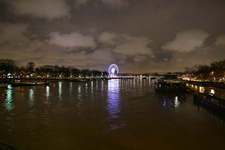 Paris, France-January 25, 2018: View of the Saine river and Pont de la Concorde from Pont Alexandre III