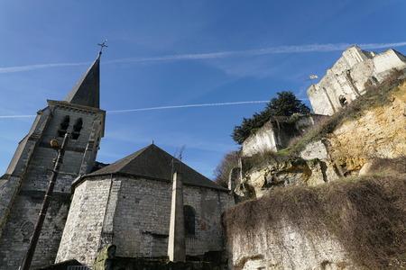 Loir-et-Cher, France-January 24, 2108: The Chateau de Montrichard, a ruined 11th century castle located at Montrichard, Franc e