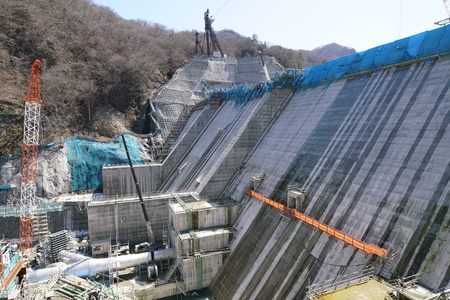 Gunma, Japan-March 17, 2018: Yanba Dam is a concrete gravity dam, which is under construction in Naganohara, Agatsuma Distr ICT, Gunma Prefecture, Japan. Its height is 116 m and its width is 291 m.
