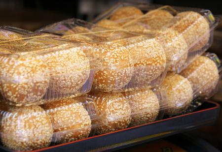 Packed sesame coated dumplings or goma dango