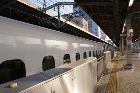 Kanagawa, Japan-May 11, 2018: The first bullet train or Tokaido Shinkansen Hikari departing from Shin-Yokohama station in th e morning Stock Photo - 102371890