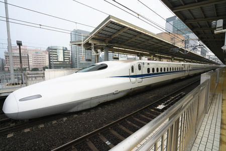 Kanagawa, Japan-May 14, 2018: Shinkansen or a Japanese bullet train stops at Shinyokohama station before 6AM.