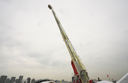 Extended ladder of the fire engine or hook-and-ladder truck. The maximum length of the ladder is 30 m.