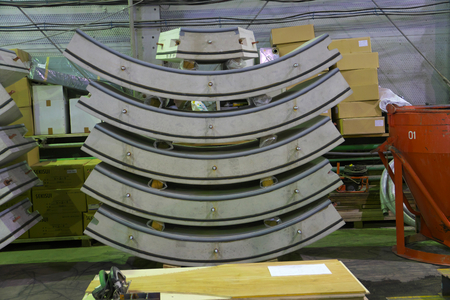 Tokyo, Japan-June 22, 2018: Segments for shield machine for Second Tagara river rainwater storage trunk line. The diameter of the tunnel is 3.5 m.