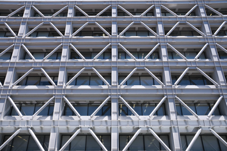 Tokyo, Japan-July 2, 2018: A building with seismic reinforcement or adhoc addition of structural reinforcement