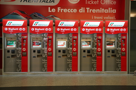 Venice, Italy-July 25, 2018: Venice Santa Lucia Train Station ticket vending machines Editorial