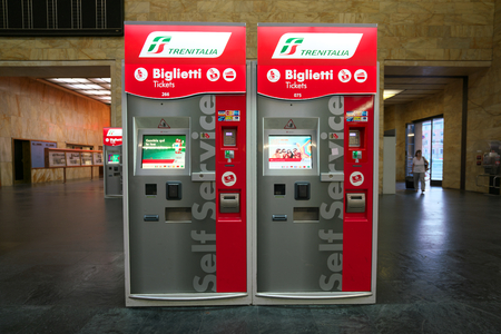 Florence, Italy-July 26, 208: Ticket office at Firenze Santa Maria Novella station just after the sunrise
