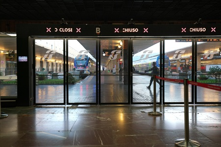 Florence, Italy-July 26, 208: Almost vacant platform of Firenze Santa Maria Novella station just after the sunrise
