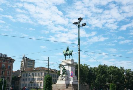 Milan, Italy-July 24, 2018: Monument of Giuseppe Garibaldi at Public plaza, Largo Cairoli, near the Sforzesco Castle, Milan