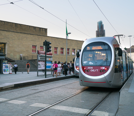 Florence, Italy-July 26, 2018: Trams stop at Santa Maria Novella tram station early in the morning