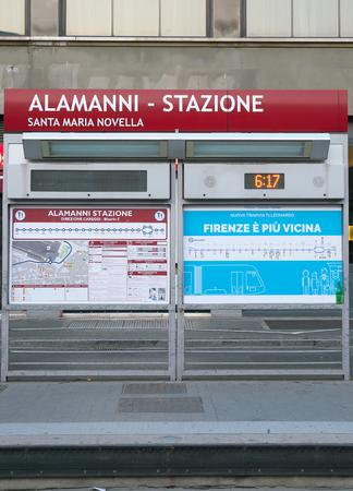Florence, Italy-July 26, 2018: Tram platform of Santa Maria Novella Station, Florence, in the morning