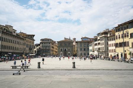 Florence, Italy-July 26, 2018: Piazza Santa Croce and Basilica di Santa Croce di Firenze in the blazing midday sun Editorial