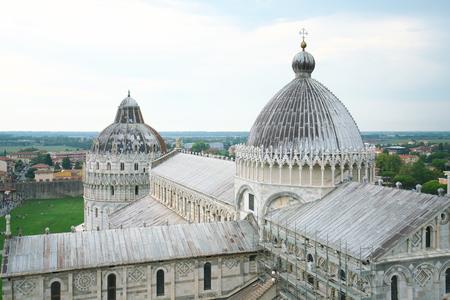 Pisa, Italy - July 26, 2018: Pisa Cathedral or Cattedrale Metropolitana Primaziale di Santa Maria Assunta viewed from Leaning Tower of Pisa Stok Fotoğraf