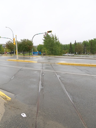 Waterfront trolley rail track in Whitehorse