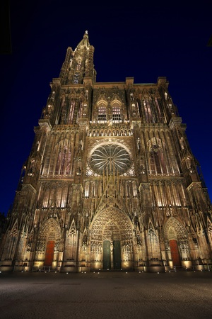 Strasbourg, France-October 12, 2018: The cathedral of Notre-Dame of Strasbourg, France, at dawn Editorial