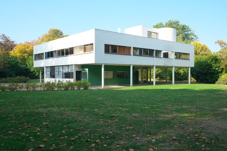 Poissy, France-October 18, 2018: Villa Savoye, a modern internationally-renowned masterpiece.