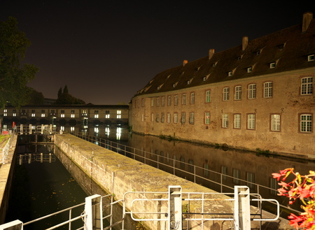 Strasbourg, France-October 13, 2018: the Vauban Dam or the the Great Lock or the Barrage Vauban is a bridge, weir and defen SIVE work erected in the 17th century on the River Ill in Strasbourg, France Editorial