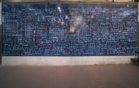 Paris, France-October 17, 2018: Wall in Paris, I love you written in many international languages.