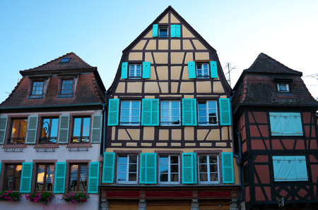 Colmar, France-October 13, 2018: Wooden frame houses on Ecoles street near La Petite Venise in Colmar, France Editorial