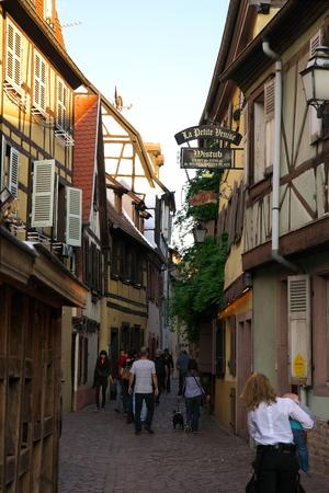 Colmar, France-October 13, 2018: Poissonnerie Street along Lauch river near La Petite Venise in Colmar, France