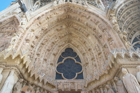 Reims, France-October 10, 2018: Inside of Cathedral of Notre-Dame or Our Lady of Reims in Reims, France
