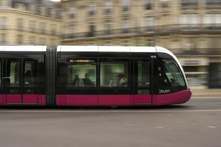 Dijon, France-October 14, 2018: Panning of tramway of Dijon, France