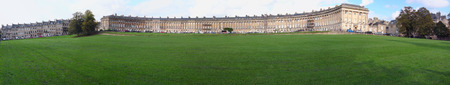 Bath, United Kingdom-October 13, 2011: The Royal Crescent, a row of 30 terraced houses in Bath.
