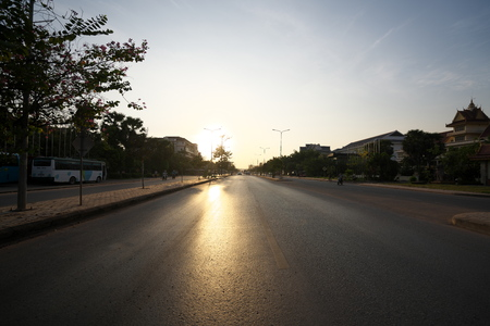 Siem Reap, Cambodia-Januay 9, 2019: Sunrise viewed from National Highway 6 in Siem Reap, Cambodia
